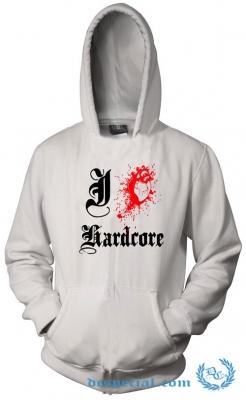 Hakken Hooded Sweater 'I Love Hardcore White'