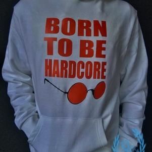 Hakken Hooded Sweater 'Born To Be Hardcore White'