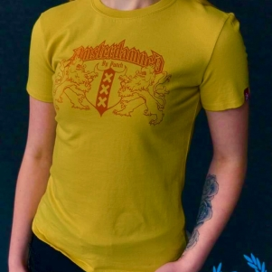 Amsterdamned Dames T-shirt 'Yellow'