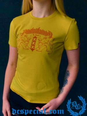 Amsterdamned Dames T-shirt 'Yellow'