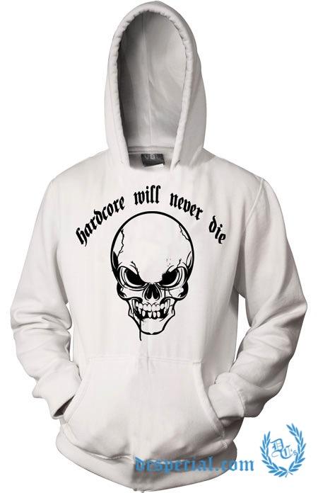 Hakken Hooded Sweater 'Hardcore Will Never Die Skull'