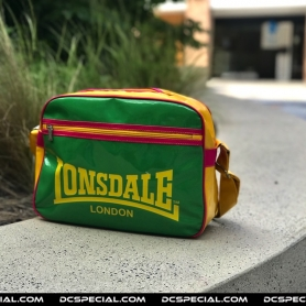 Lonsdale Hipbag 'Green/Yellow Leather'