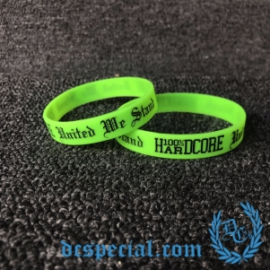 100% Hardcore Wristband 'United We Stand Neon Green'