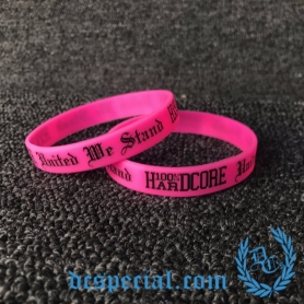 100% Hardcore Wristband 'United We Stand Neon Pink'