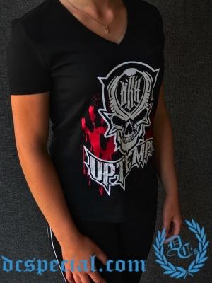 MBK Dames V-neck T-shirt 'BLOOD'