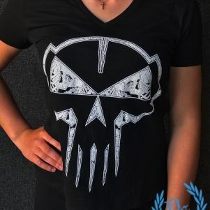 Rotterdam Terror Corps Ladies V-neck T-shirt 'Skull'